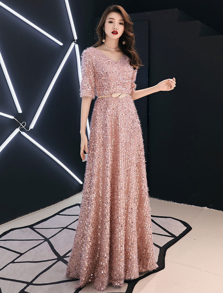 Milanoo Sequin Evening Dresses Maxi Half Sleeve V Neck Floor Length Formal Gowns