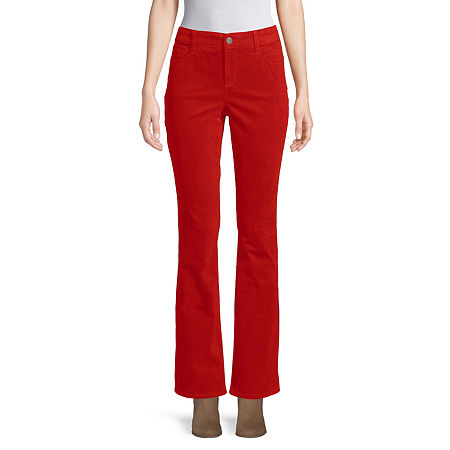St. John's Bay Womens Mid Rise Belly Bootcut Corduroy Pant, 10 , Red