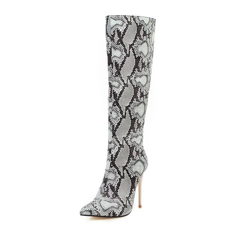 Ericdress Serpentine Stiletto Heel Side Zipper Pointed Toe Women's Knee High Boots