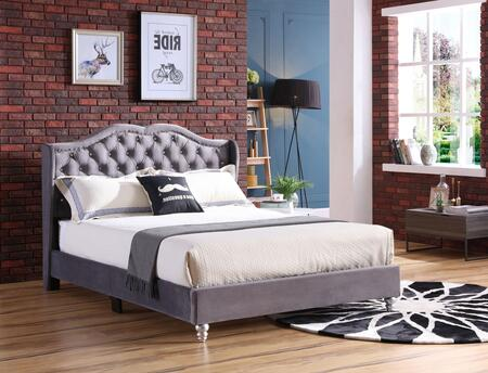 G1931-QB-UP Joy Collection Queen Size Upholstered Bed with Button Tufting Details  Velvet Fabric  Turned Legs  and Nail Head Accents  in