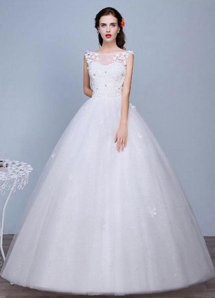 Milanoo Ivory Wedding Dress Sleeveless Semi-Sheer Jewel Neckline Lace A-Line Floor Length Bridal Gown