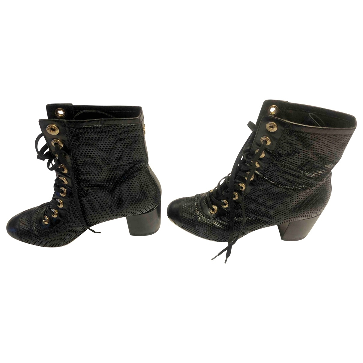 Chanel \N Black Leather Boots for Women 39.5 EU
