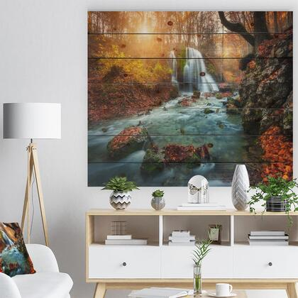 WD9799-46-36 Fast Flowing Fall River In Forest - Landscape Photography Print On Natural Pine Wood -