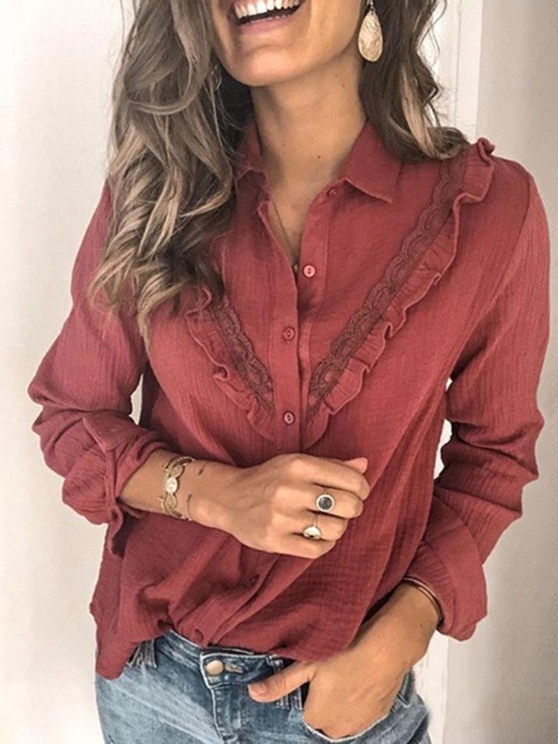 Ericdress Lapel Regular Plain Women's Long Sleeve Standard Blouse