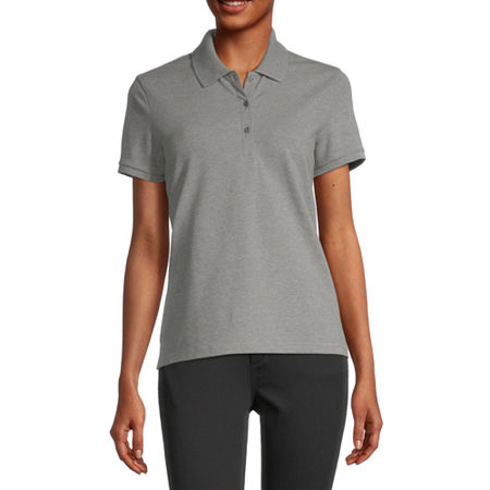 Arizona Juniors Womens Short Sleeve Knit Polo Shirt, 3x-large , Gray