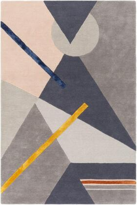 MCY2300-810 8 x 10 Rug  in Charcoal and Light Gray and Medium Gray and Dark Blue and Burnt Orange and Bright Yellow and