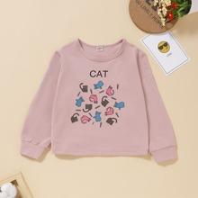 Sweatshirt mit Karikatur Katze und Buchstaben Grafik