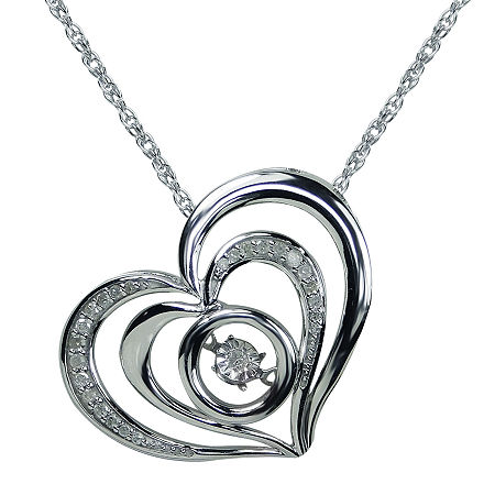 Love in Motion 1/10 CT. T.W. Diamond Sterling Silver Heart Pendant Necklace, One Size , No Color Family