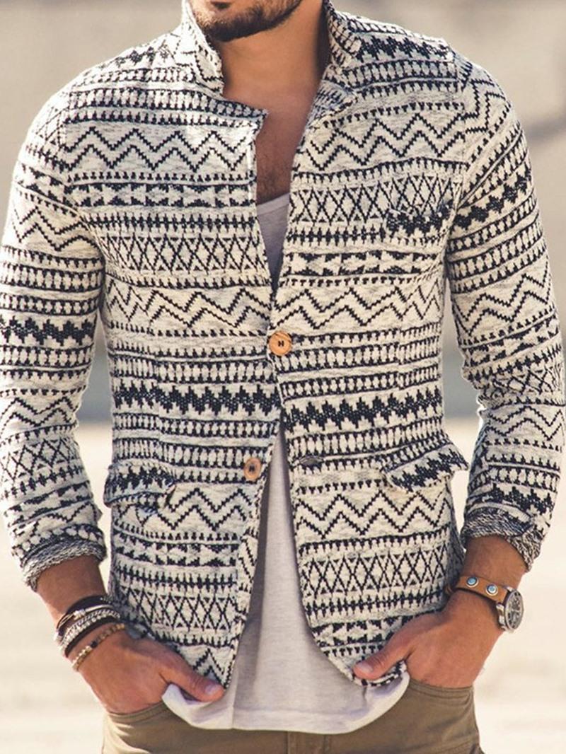 Ericdress Geometric Standard Casual Single-Breasted Sweater