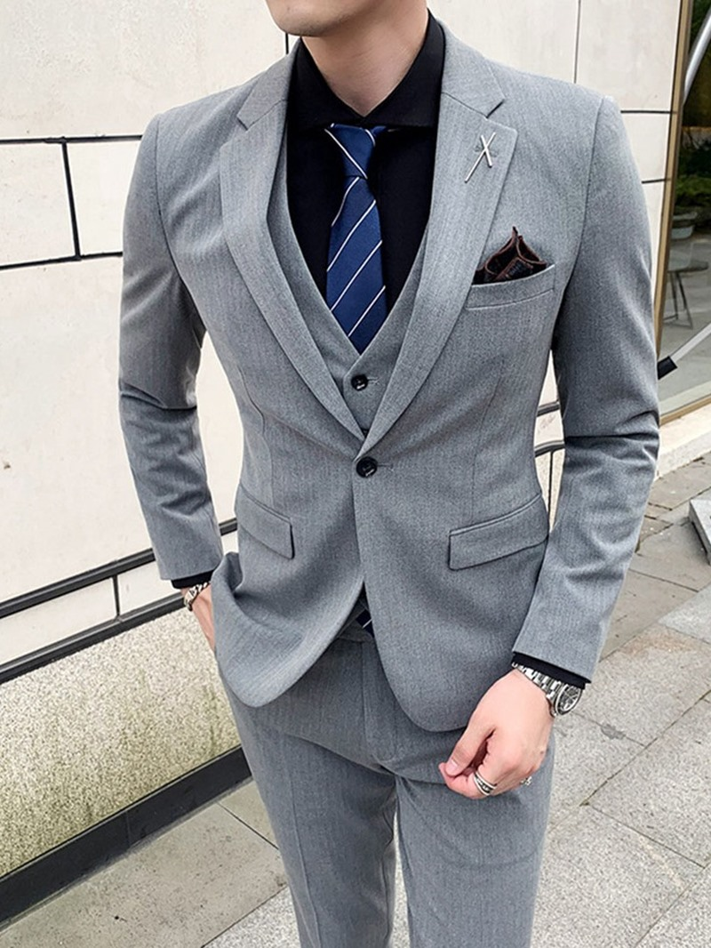 Ericdress Button Pants One Button Men's Dress Suit