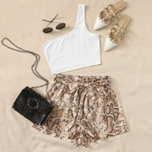 One Shoulder Rib-knit Top & Self Belted Snakeskin Shorts Set