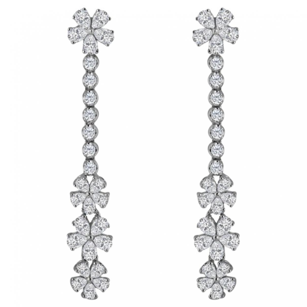 - Boucles doreilles Motifs Floraux pour femme en or blanc - blanc