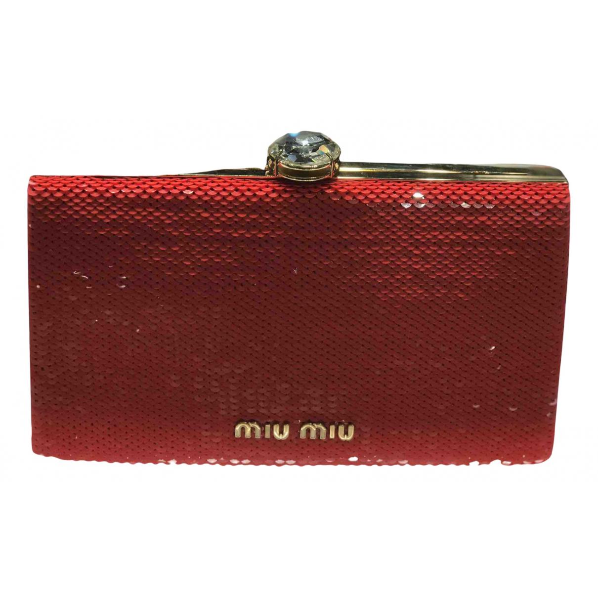 Miu Miu Miu Crystal Clutch in  Rot Mit Pailletten