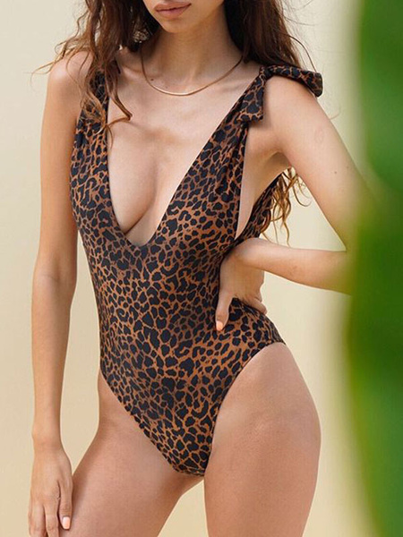 Milanoo Monokini Swimsuits Women Print V Neck Backless Summer Sexy Swimming Suits