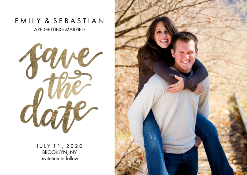 Save the Date 5x7 Cards, Premium Cardstock 120lb, Card & Stationery -Save the Date Gold Shimmer