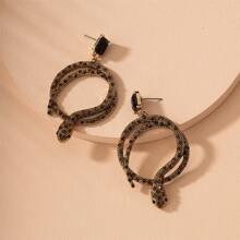 Rhinestone Serpentine Drop Earrings
