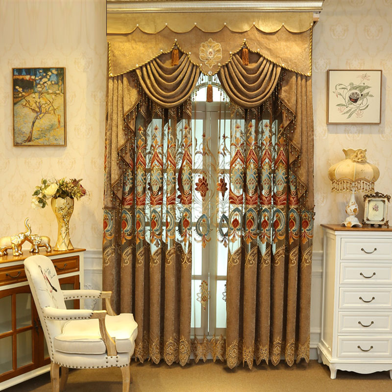 Elegant European Embroidery Shading Curtains for Living Room Custom 2 Panels Drapes No Pilling No Fading No off-lining
