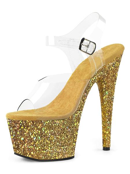 Milanoo Women Sexy Sandals Light Gold PU Leather Peep Toe 2.8 Platform Sandals