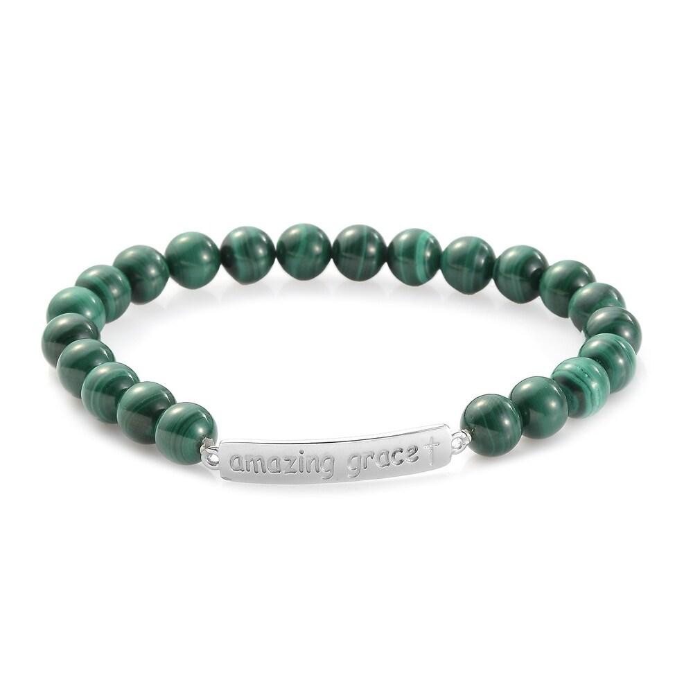 Platinum Over Sterling Silver Malachite Bracelet Size 7.25 In Ct 110.3 - Bracelet 7.25'' (Malachite - Multi - Bracelet 7.25'')