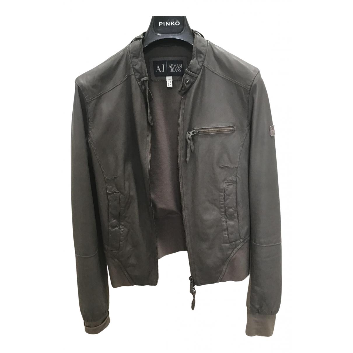 Armani Jeans \N Ecru Leather Leather jacket for Women 40 IT