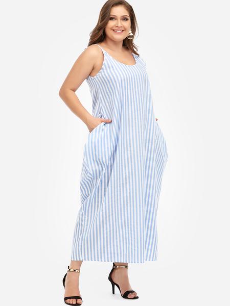 Yoins Plus Size Sky Blue Spaghetti Strap Stripe V-neck Maxi Dress