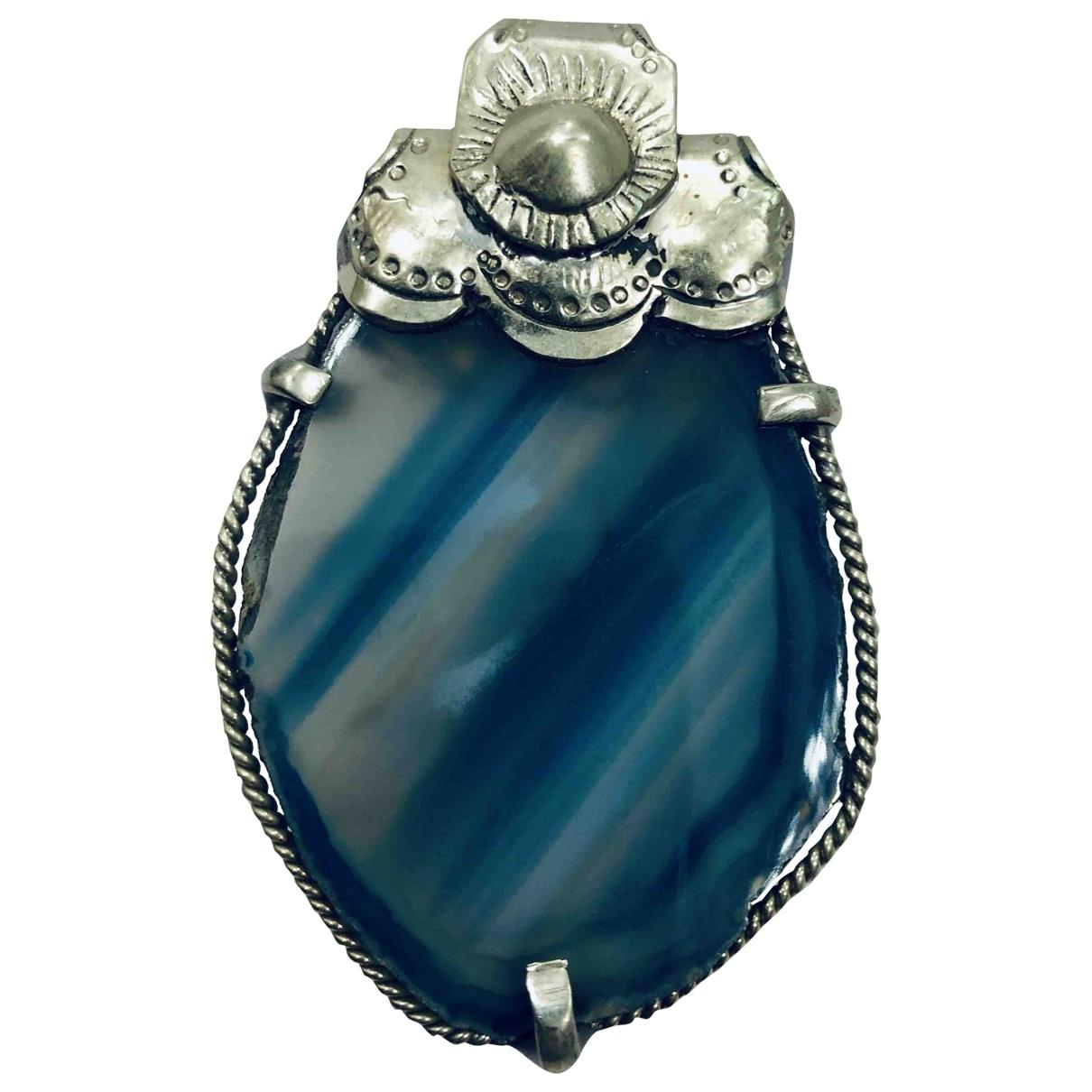 Non Signe / Unsigned Agate Anhaenger in  Blau Silber