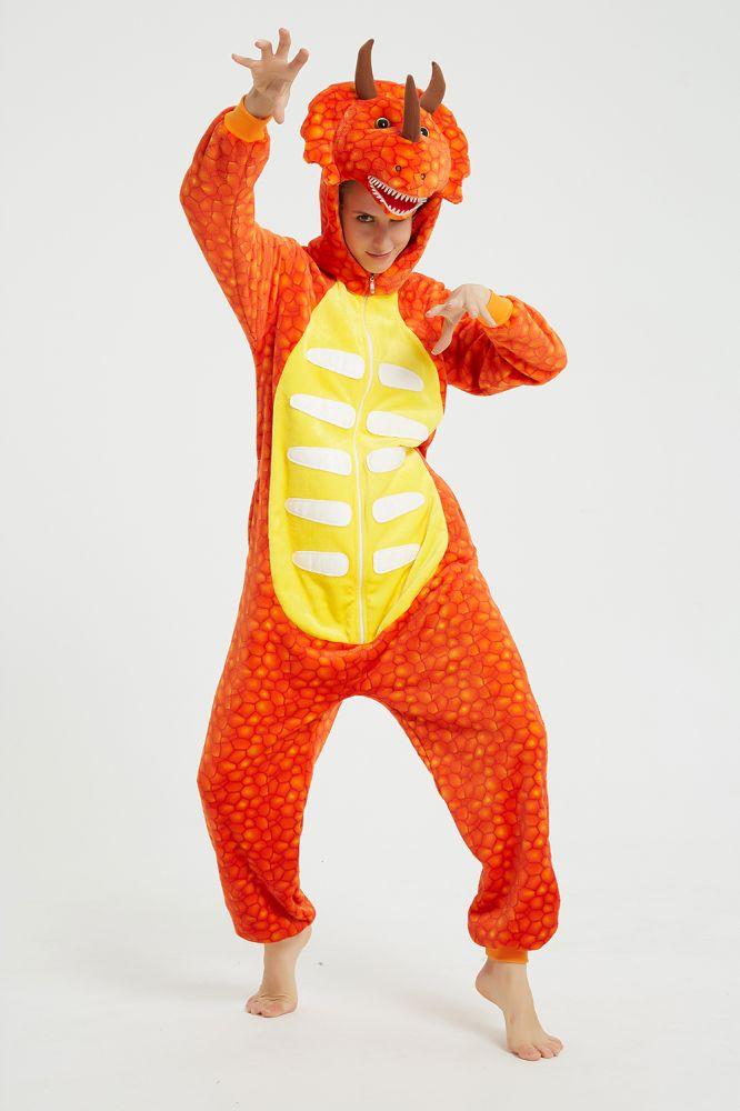 Orange Triceratops Herbst Winter Warm Flanell Home Kleidung Plus Size Kigurumi Onesie Pyjamas fuer Frauen Pijama Nachthemd Nachtwaesche Tier