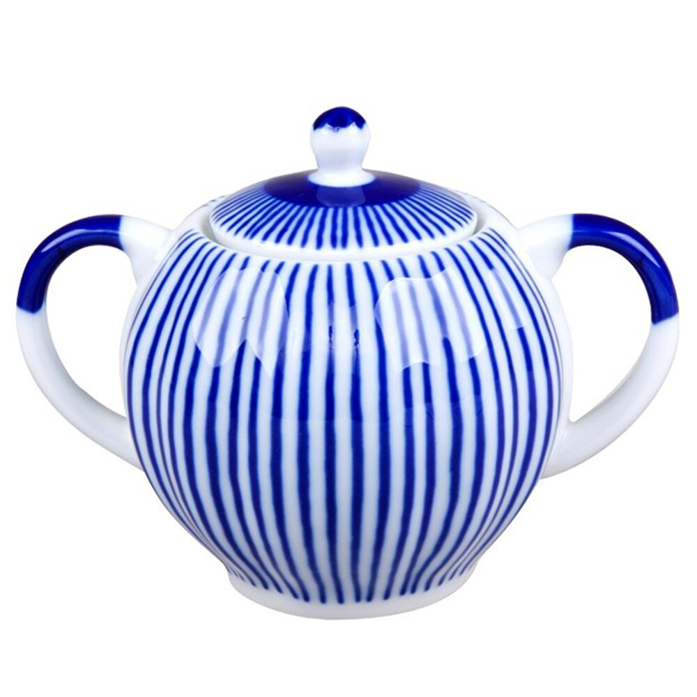 Imperial Porcelain Factory Cobalt Stripes Porcelain Sugar Bowl (Multi)
