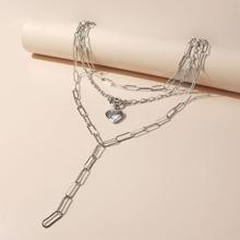Mehrschichtige Halskette mit Herzen Anhaenger