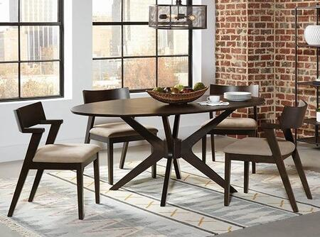 Jarmen Collection 122520-S5-522 5-Piece Dining Room Set with Oval Dining Table and 4 Side Chairs in Medium Brown