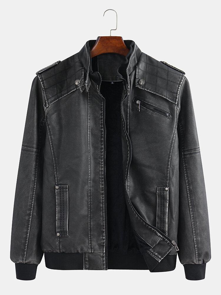 Mens Fashion Cool Waterproof Plain Long Sleeve Stand Collar PU Leather Jacket