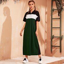 Drop Shoulder O-ring Zipper Front Colorblock Dress