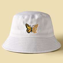 Butterfly Embroidered Bucket Hat