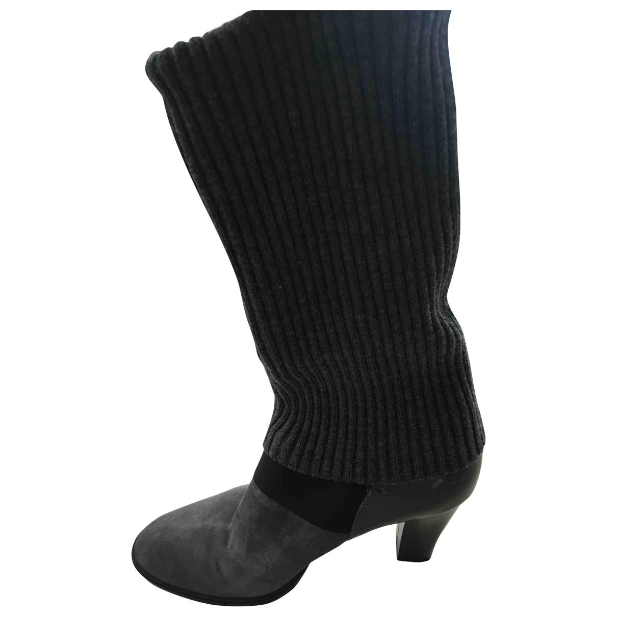 Hogan - Bottes   pour femme en cuir - gris