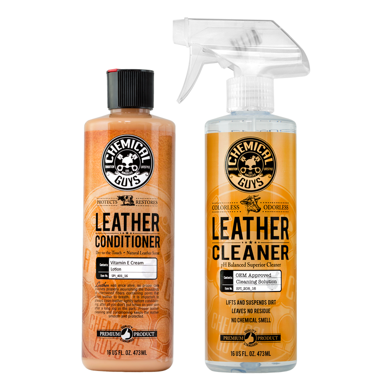 Car Leather Cleaner & Conditioner Complete Leather Care Kit - Chemical Guys
