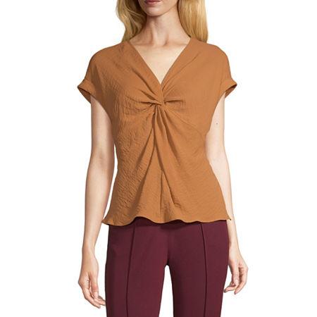 Worthington Womens V Neck Short Sleeve Blouse, Small , Brown