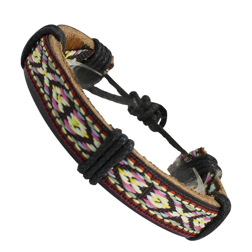 Multi-Colored Sweater Pattern Wrap Leather Bracelet (Multi)