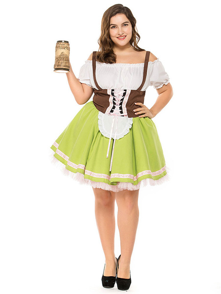 Milanoo Halloween Costumes Beer Girl Costume Grass Green Multicolor Ruffles Dress Beer Girl Holidays Costumes Oktoberfest Costumes