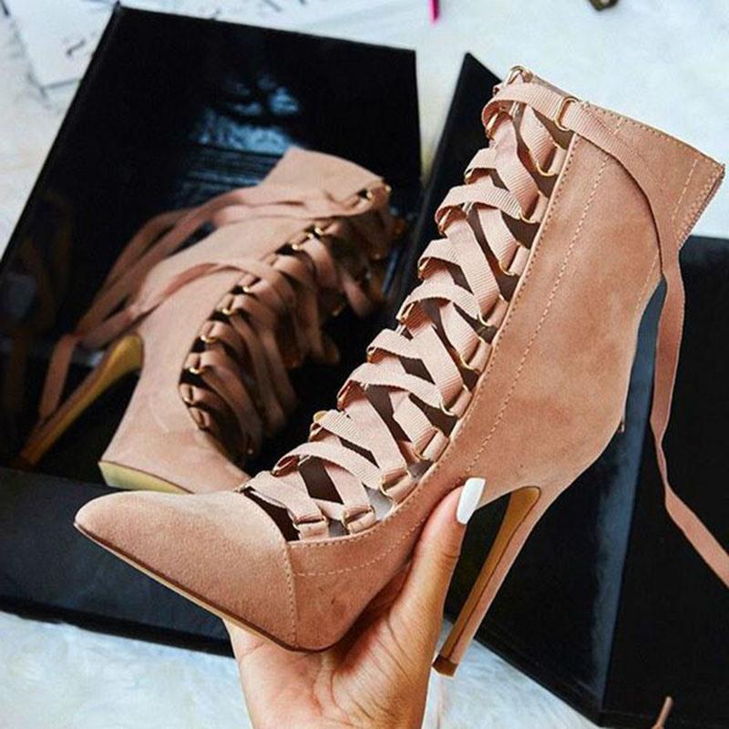 Ericdress Cross Strap Pointed Toe Ultra-High Heel Boots