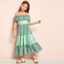 Girls Flounce Off Shoulder Polka Dot Dress