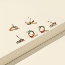 3pairs Rhinestone Decor Earrings