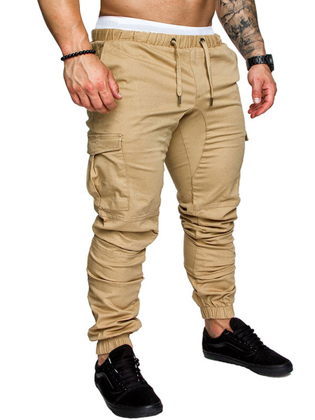 Milanoo Hombre Cargo Pant Side Sweatpant Drawstring Tapered Track Pant
