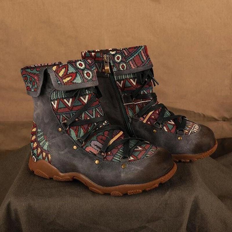 Ericdress Color Block Round Toe Side Zipper PU Boots