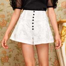 Girls Button Front Jacquard Shorts