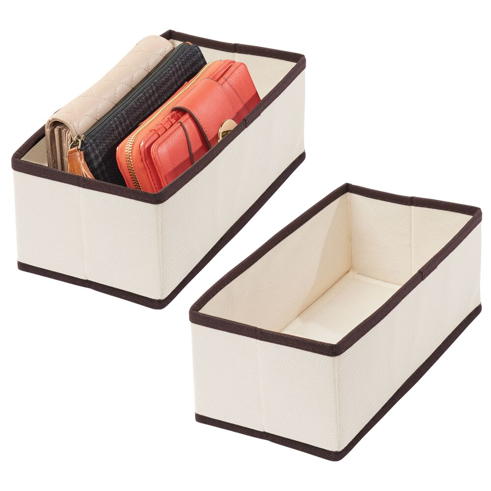 Fabric Drawer Organizers - Pack of in Cream/Espresso, by mDesign