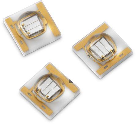 Wurth Elektronik 15335340AA350 , WL-SUMW Series UV LED, 405nm 1100mW 130 °, 2-Pin Surface Mount package (500)