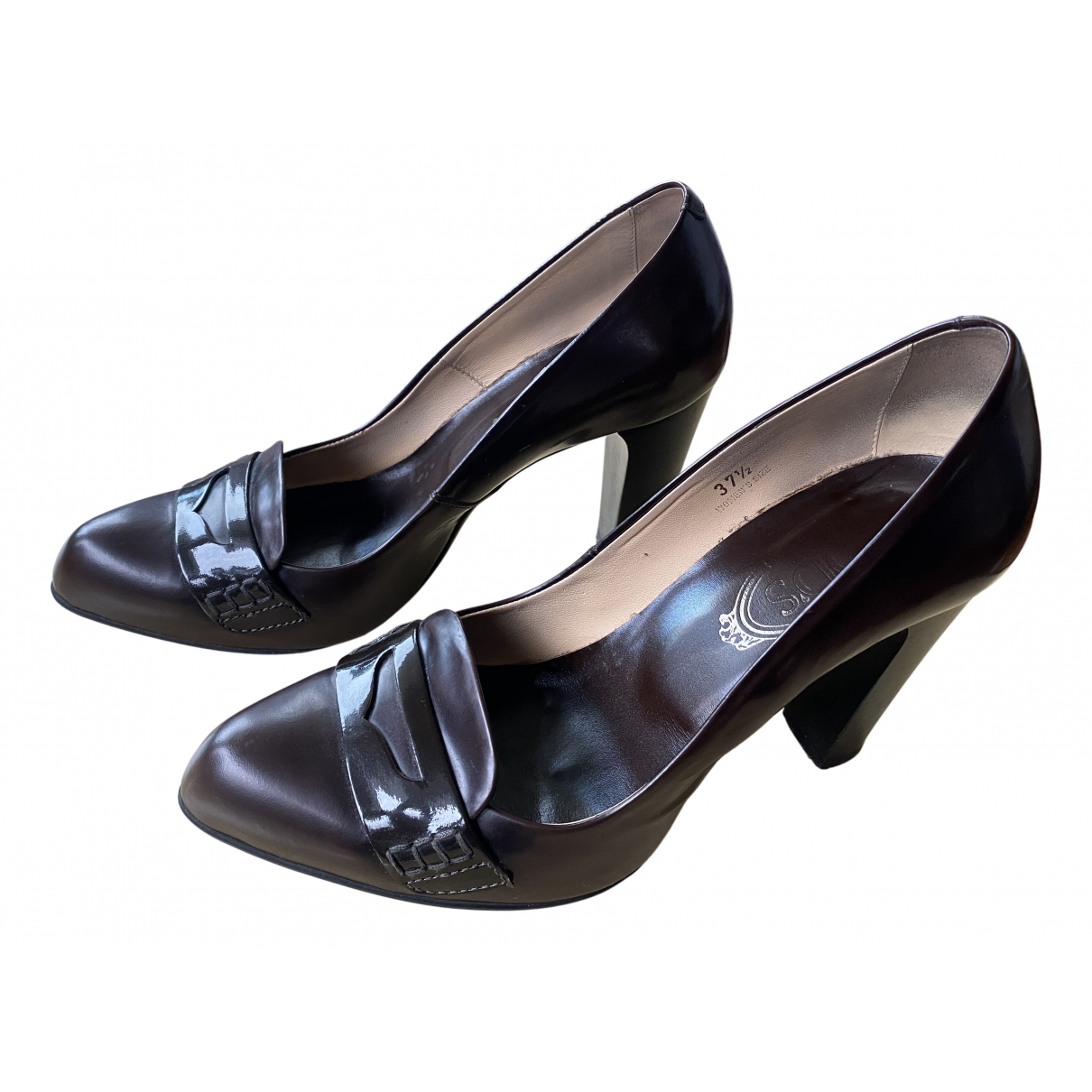 Tod's N Brown Leather Heels for Women 37.5 IT