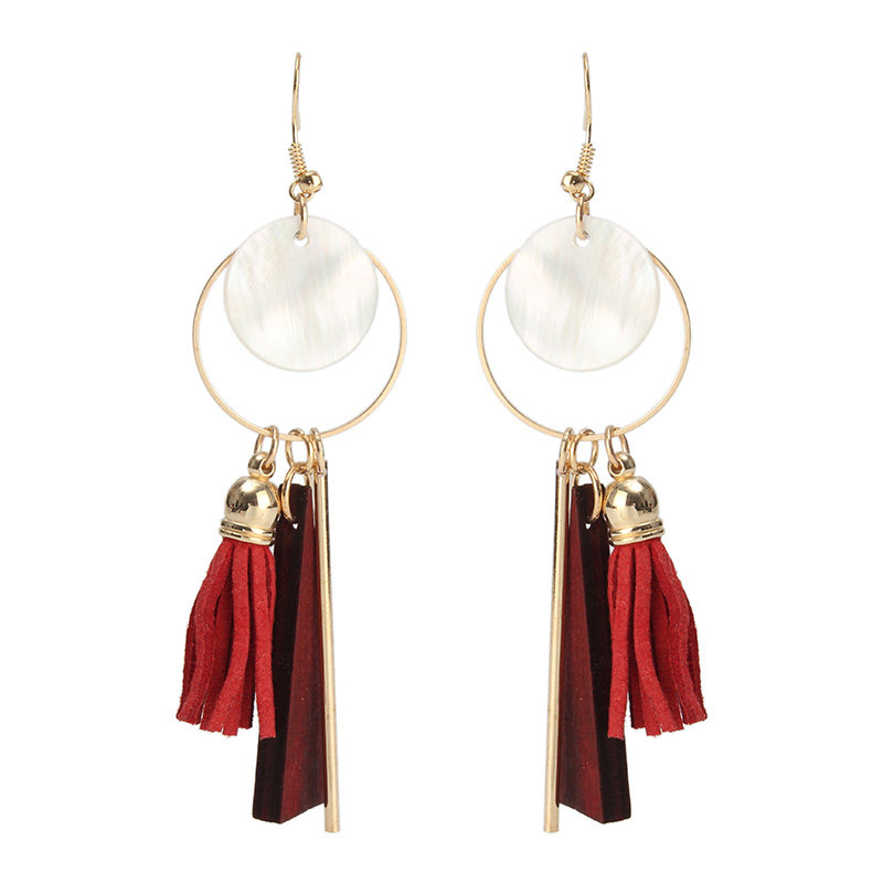 Trendy Geometric Earrings Gold Plated Shell Wood Leather Tassels Earring Ear Drop
