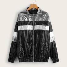 Zip Up Color Block Wind Jacket