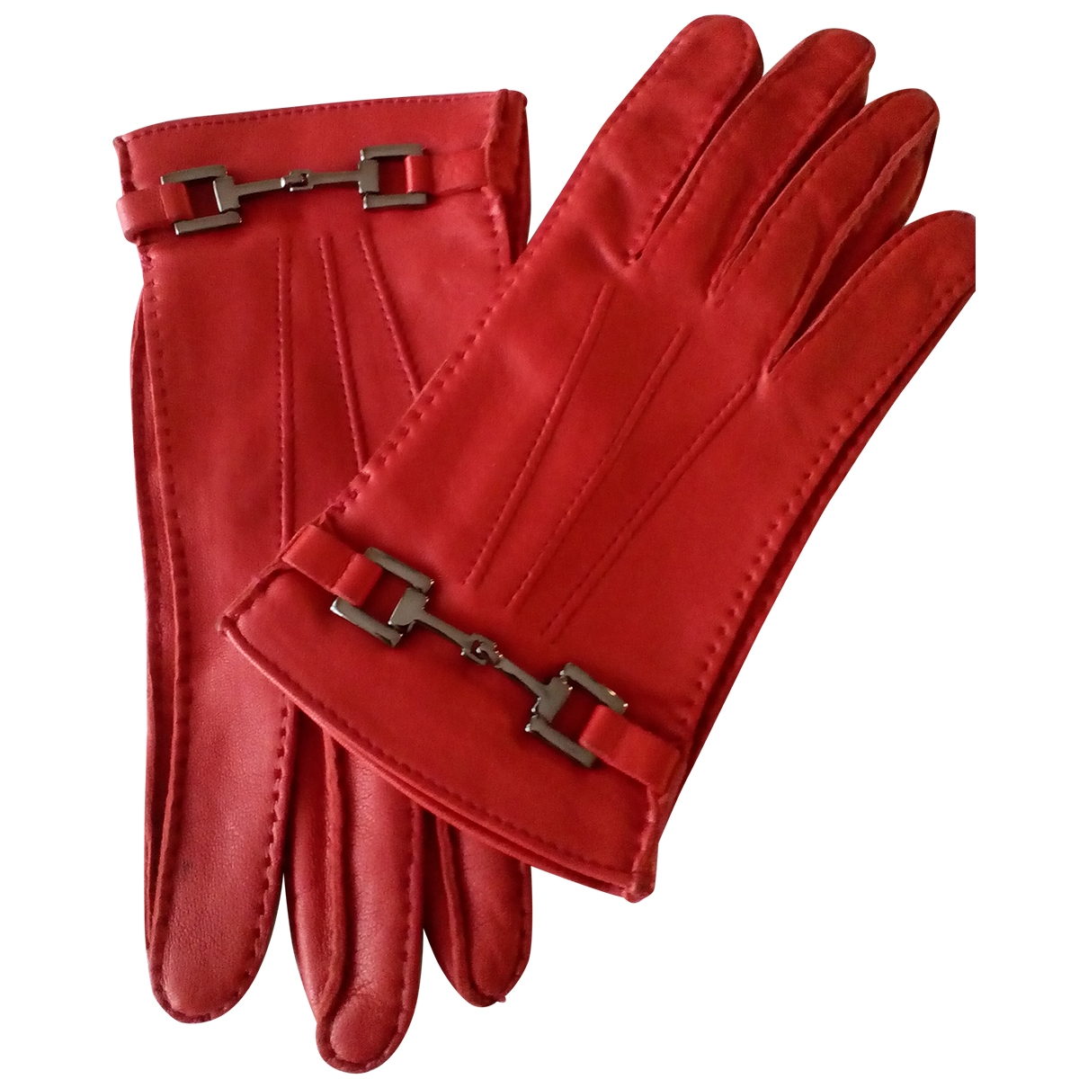 Gucci \N Red Leather Gloves for Women 7 Inches